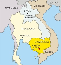 map indochina - Phnom Penh highlighted