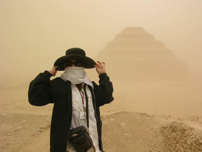 Sand Storm at the Saqqara Pyramid in Thebes, Egypt