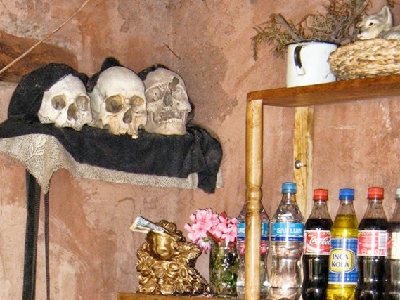 human skulls in a local peruvian house