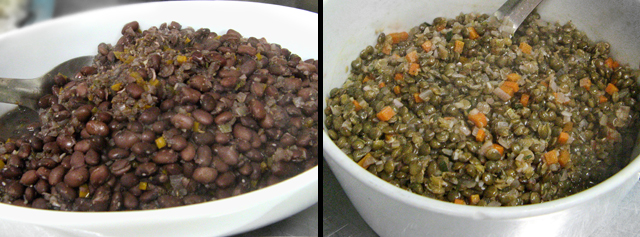 black beans and lentils