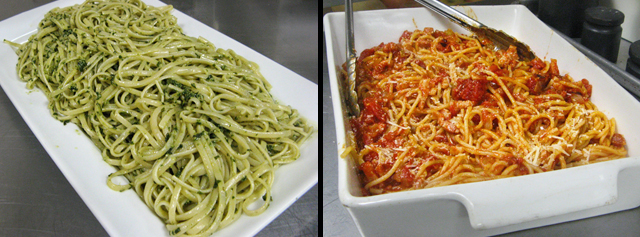 basil pesto and spaghetti