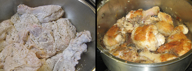 Floured chicken and browning chicken