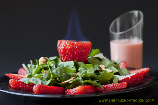 Spinach-and-flaming-strawberry-sangria-salad