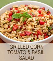 Grilled corn, tomato & basil salad