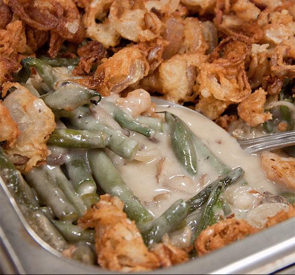 Homemade Green Bean & Mushroom Casserole with Crispy Shallots