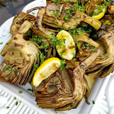 Grilled & Smothered Artichokes | The Vegetable Butcher