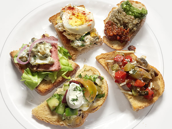 Assortment of open faced sandwiches from Karen Kaplan