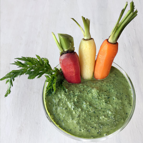 carrots swimming in pesto