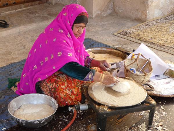 Making Omani bread at Nizwa Fort
