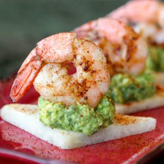 Shrimp & Carrot Top Guacamole on Jicama