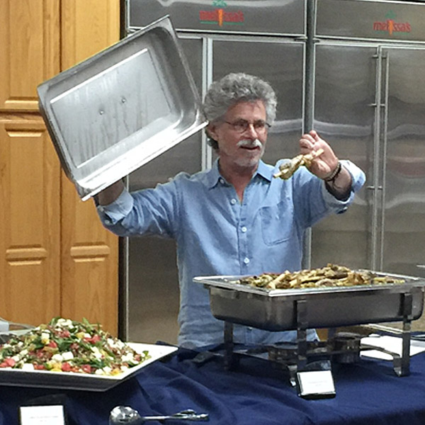 Steven Raichlen during cooking demo at Melissas Produce
