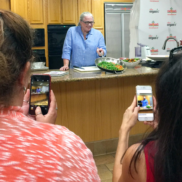 Virginia Willis demo at Melissas Produce