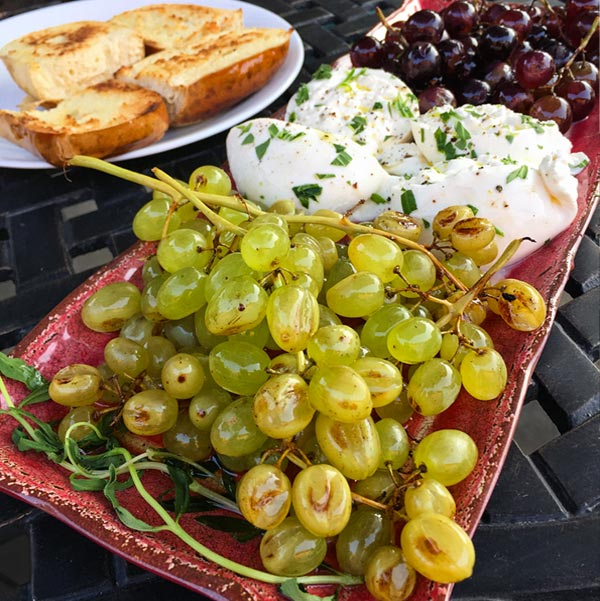 Grilled Grapes with Burrata and Tarragon
