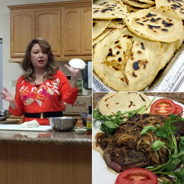 Alicia Maher making pupusas from Delicious El Salvador