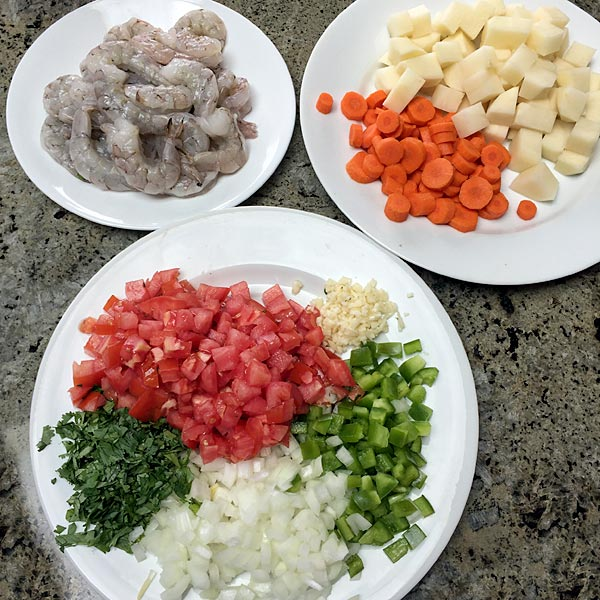 Shrimp Soup prep from Delicious El Salvador Cookbook