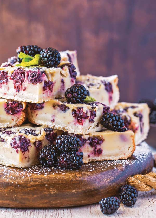 Blackberry custard bars from the cookbook Decadent Fruit Desserts