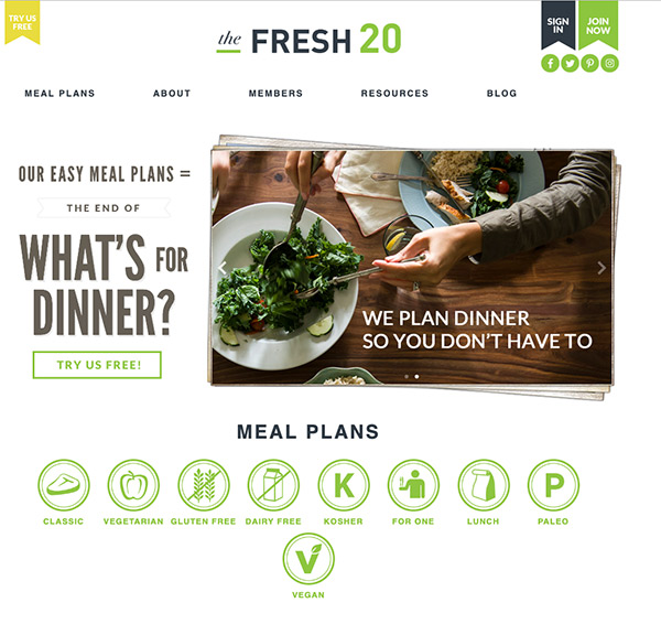 The Fresh 20 website