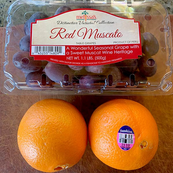 Red Muscato grapes and Cara cara oranges from Melissas Produce