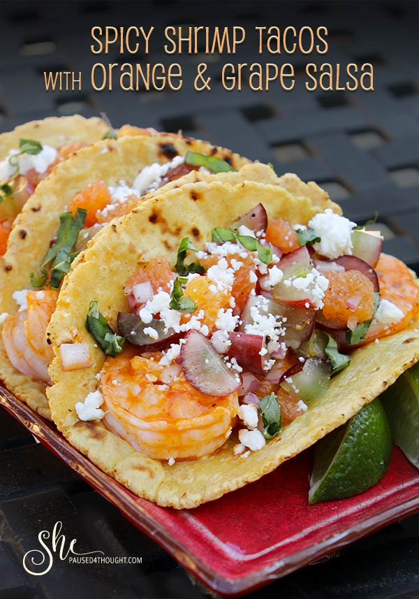 Spicy Shrimp Tacos with Orange and Grape Salsa