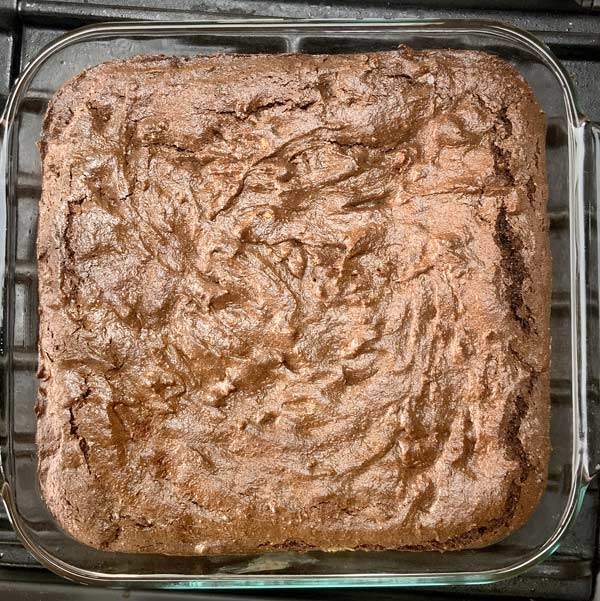 Flourless Chocolate Almond Butter Brownies in a pan