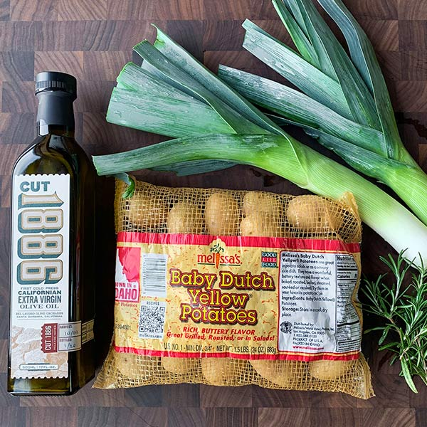 Cut 1886 olive oil, Melissa's Produce Baby Dutch Yellow Potatoes and leeks