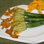 stuffed-zucchini blossoms with chicken sausage