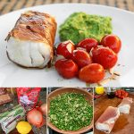 Prosciutto Wrapped Halibut with Pea Puree & Balsamic Tomatoes from The Fresh 20 website